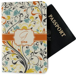 Swirly Floral Passport Holder - Fabric (Personalized)