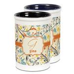 Swirly Floral Ceramic Pencil Holder - Large