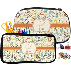 Swirly Floral Neoprene Pencil Case (Personalized)