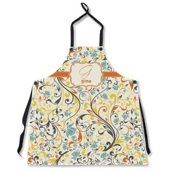 Swirly Floral Apron Without Pockets w/ Name and Initial