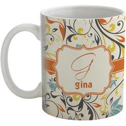 Swirly Floral Coffee Mug (Personalized)