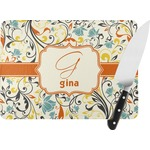 Swirly Floral Rectangular Glass Cutting Board (Personalized)