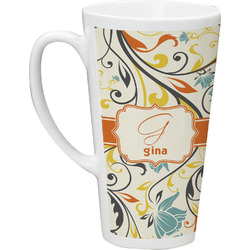Swirly Floral Latte Mug (Personalized)