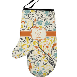 Swirly Floral Left Oven Mitt (Personalized)