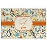 Swirly Floral Laminated Placemat w/ Name and Initial