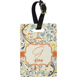 Swirly Floral Rectangular Luggage Tag (Personalized)