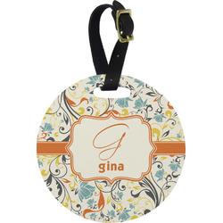 Swirly Floral Round Luggage Tag (Personalized)