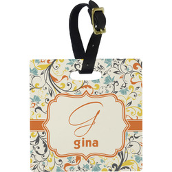 Swirly Floral Square Luggage Tag (Personalized)