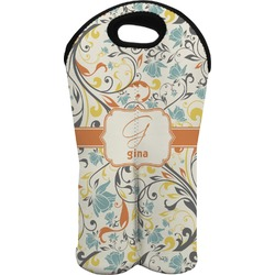Swirly Floral Wine Tote Bag (2 Bottles) (Personalized)