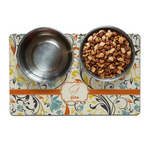 Swirly Floral Pet Bowl Mat (Personalized)
