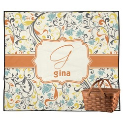 Swirly Floral Outdoor Picnic Blanket (Personalized)