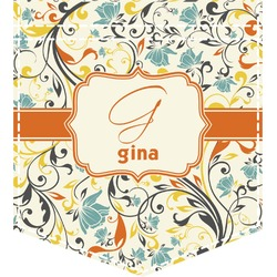 Swirly Floral Iron On Faux Pocket (Personalized)
