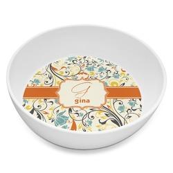 Swirly Floral Melamine Bowl 8oz (Personalized)