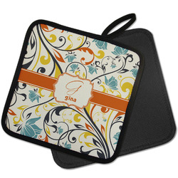 Swirly Floral Pot Holder w/ Name and Initial