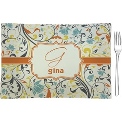 Swirly Floral Rectangular Glass Appetizer / Dessert Plate - Single or Set (Personalized)