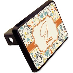 """Swirly Floral Rectangular Trailer Hitch Cover - 2"""" (Personalized)"""