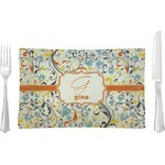 Swirly Floral Glass Rectangular Lunch / Dinner Plate - Single or Set (Personalized)