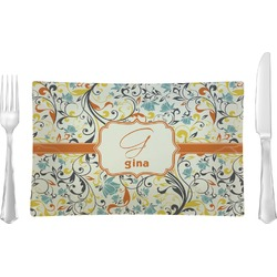 Swirly Floral Rectangular Glass Lunch / Dinner Plate - Single or Set (Personalized)