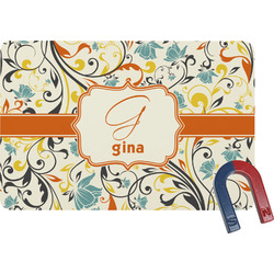 Swirly Floral Rectangular Fridge Magnet (Personalized)