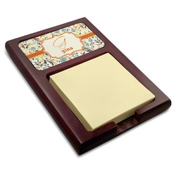 Swirly Floral Red Mahogany Sticky Note Holder (Personalized)