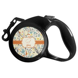 Swirly Floral Retractable Dog Leash - Multiple Sizes (Personalized)