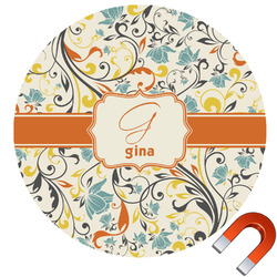Swirly Floral Car Magnet (Personalized)