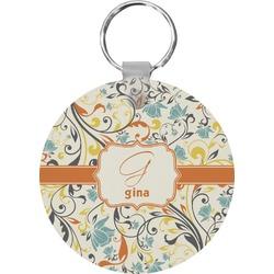 Swirly Floral Round Keychain (Personalized)