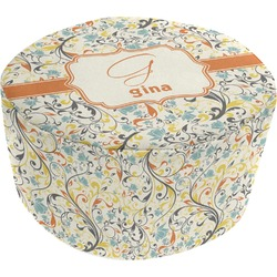 Swirly Floral Round Pouf Ottoman (Personalized)