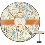 Swirly Floral Round Table (Personalized)