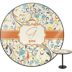 Swirly Floral Round Table Top (Personalized)