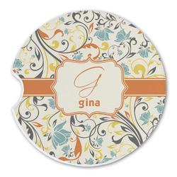 Swirly Floral Sandstone Car Coaster - Single (Personalized)