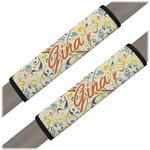 Swirly Floral Seat Belt Covers (Set of 2) (Personalized)