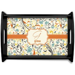 Swirly Floral Black Wooden Tray (Personalized)