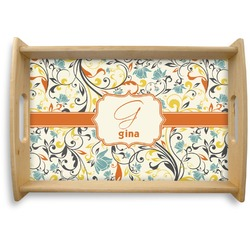 Swirly Floral Natural Wooden Tray (Personalized)