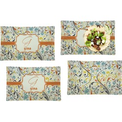 Swirly Floral Set of 4 Rectangular Dinner Plates (Personalized)