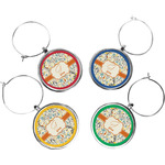 Swirly Floral Wine Charms (Set of 4) (Personalized)