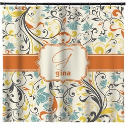 Swirly Floral Shower Curtain (Personalized)