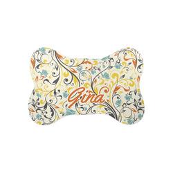 Swirly Floral Bone Shaped Dog Food Mat (Small) (Personalized)