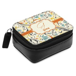 Swirly Floral Small Leatherette Travel Pill Case (Personalized)