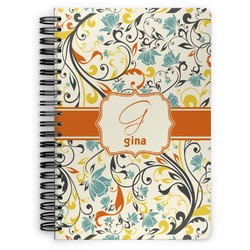 Swirly Floral Spiral Bound Notebook (Personalized)