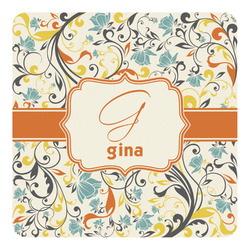 Swirly Floral Square Decal (Personalized)