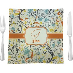 """Swirly Floral 9.5"""" Glass Square Lunch / Dinner Plate- Single or Set of 4 (Personalized)"""