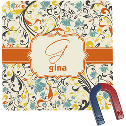 Swirly Floral Square Fridge Magnet (Personalized)