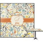 Swirly Floral Square Table Top (Personalized)