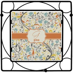 Swirly Floral Square Trivet (Personalized)