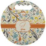 Swirly Floral Stadium Cushion (Round) (Personalized)
