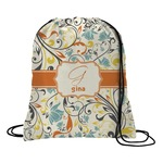 Swirly Floral Drawstring Backpack (Personalized)