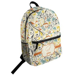Swirly Floral Student Backpack (Personalized)
