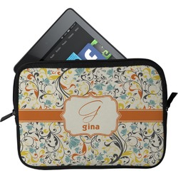 Swirly Floral Tablet Case / Sleeve (Personalized)
