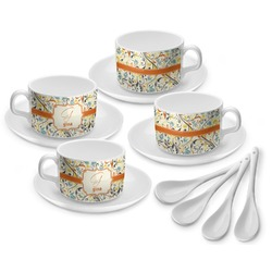 Swirly Floral Tea Cup - Set of 4 (Personalized)